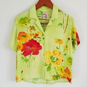 Jams World Floral Cropped Button Down Shirt Large